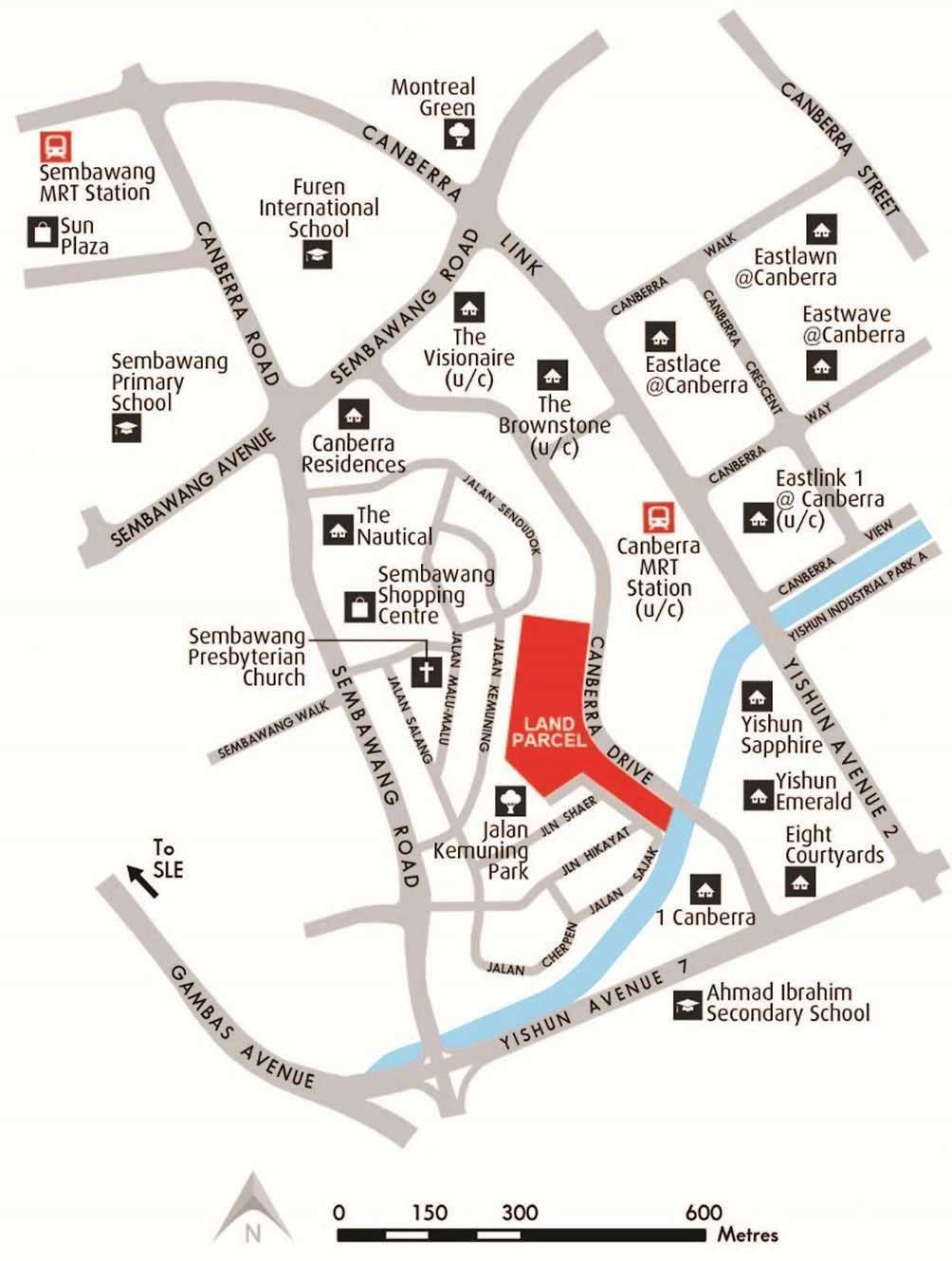 THE WATERGARDENS 沁水轩 JUST 3 MINUTES WALK TO NEW CANBERRA MRT Location